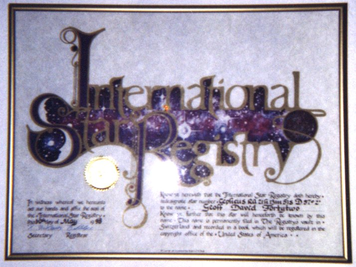 Certificate from the International Star Registry