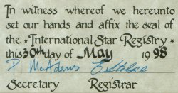 Lower left part of certificate from International Star Registry