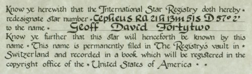 Lower right part of certificate from International Star Registry